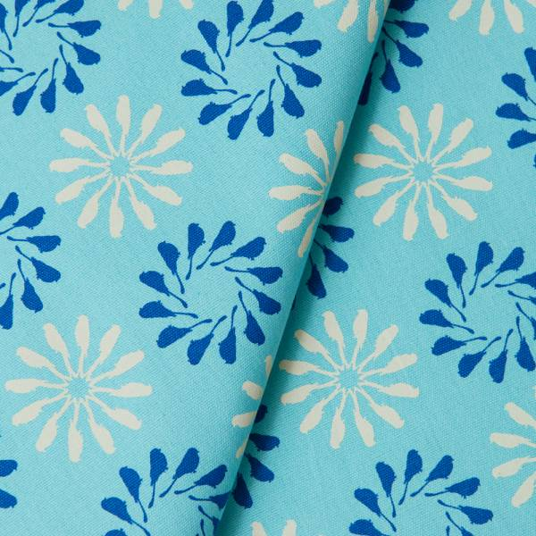 手印棉帆布_滿花-250g/y/烏秋圈圈/晴天藍 布料, 棉帆布, 手作材料