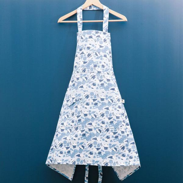 全身/半身兩用圍裙/限定花色/印花樂x馬來貘-中性藍 圍裙