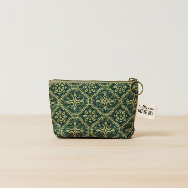 小東西拉鏈包/玻璃海棠/古董草綠 拉鏈包, 零錢包, 收納包