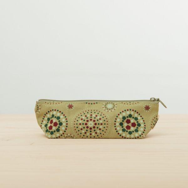 拉鏈筆袋/煙火/橄欖灰綠 文具,筆袋,玻璃海棠