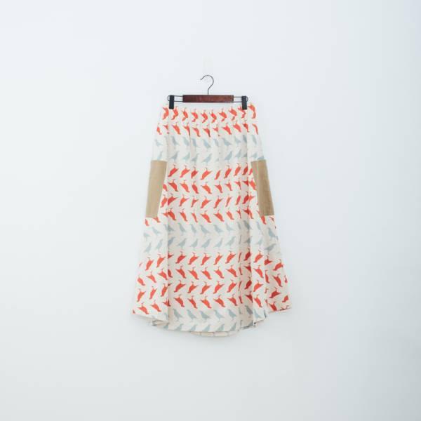 拼接口袋傘裙/台灣八哥5號/麻紅綠 裙子,拼接,花裙,印花布料,長裙