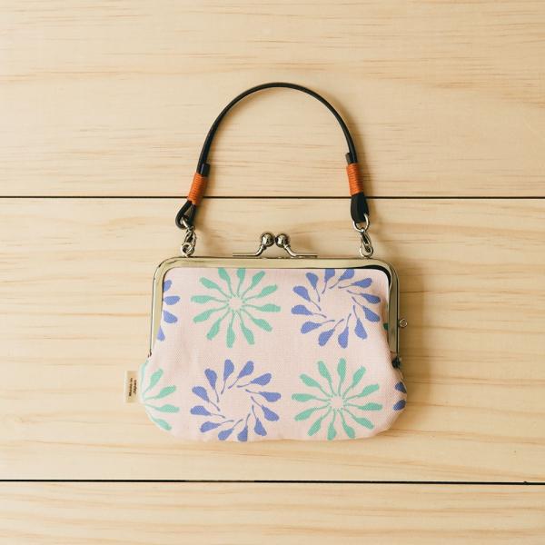 口金小長方錢包附皮革小帶/烏秋圈圈/柔和紫綠 口金包, 皮包, 錢包