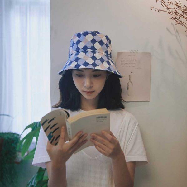 遮陽漁夫帽-玻璃海棠2號/學院藍