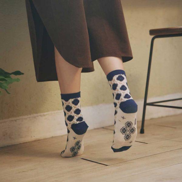 中低筒透膚襪/玻璃海棠3號/典雅藍