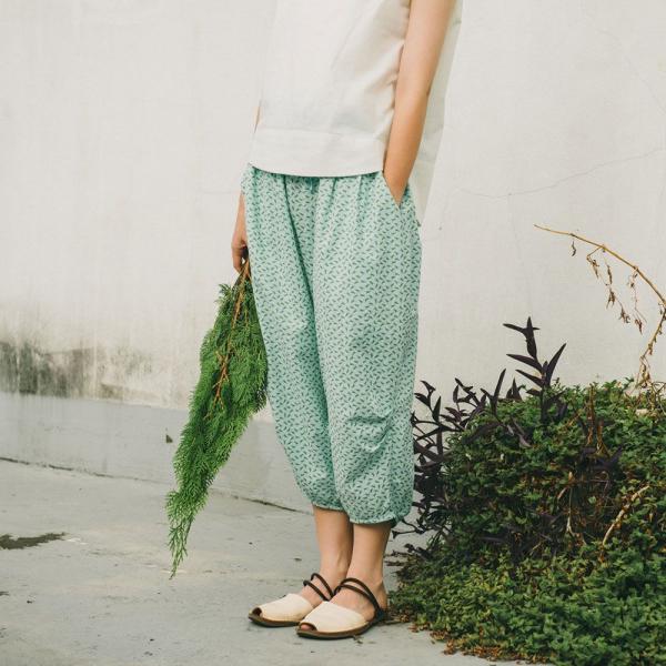抽繩寬版燈籠褲/台灣八哥4號/薄荷藍綠 燈籠褲