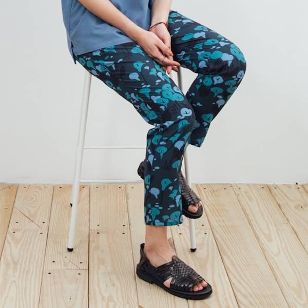 度假長褲/雜花/海芋藍綠 2019,長褲,休閒