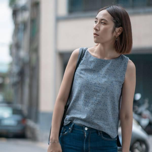 A字無袖短上衣/台灣八哥/灰藍黑 2019,女裝上衣,玻璃海棠