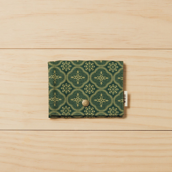 單釦面紙小物袋/玻璃海棠/古董草綠 面紙袋, 小物袋