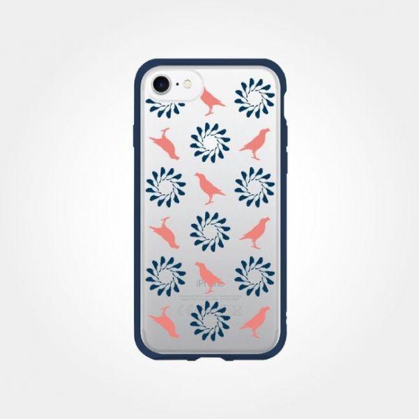 印花樂X犀牛盾NX邊框背蓋兩用殼-iPhone 7/8/SE2/烏秋八哥/背蓋透明藍粉 手機殼, 手機套, 犀牛盾, iPhone 手機殼