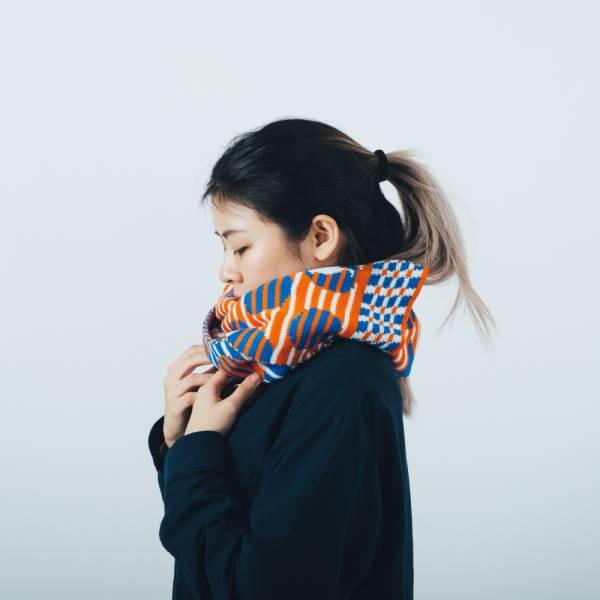緹花圍巾/印花樂 x Yu Square/圓點紅藍 圍巾, 針織圍巾