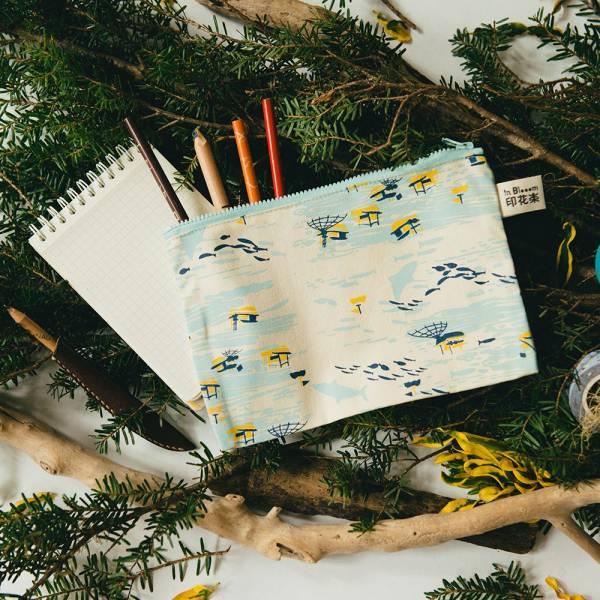 拉鏈文具袋-L14/海的寶物_漁船/淺米黃 筆袋, 收納包, 文具袋, 化妝包, 盥洗包