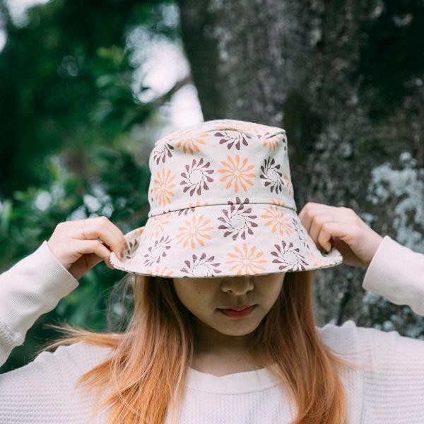 遮陽漁夫帽/烏秋圈圈/乾草黃綠 遮陽帽, 漁夫帽