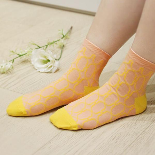 印花樂厚短襪-鐵花窗2號/蛋糕黃色 襪子, 短襪