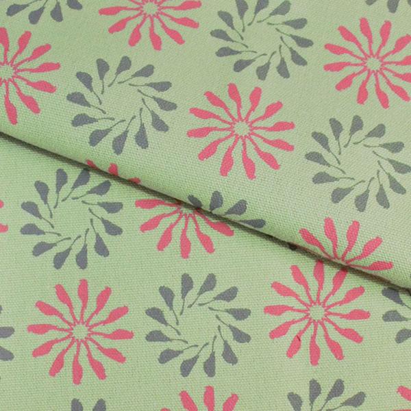 手印棉帆布-400g/y/烏秋圈圈/春捲紅綠 布料, 棉帆布, 手作材料