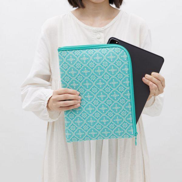 11吋iPad收納包/玻璃海棠/冰晶藍綠 平板保護殼, 平板保護袋, iPad收納包