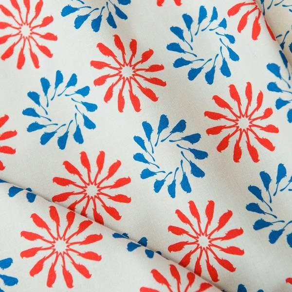 寬幅平織印花棉布/烏秋圈圈/陶罐紅藍 布料, 棉布, 手作材料