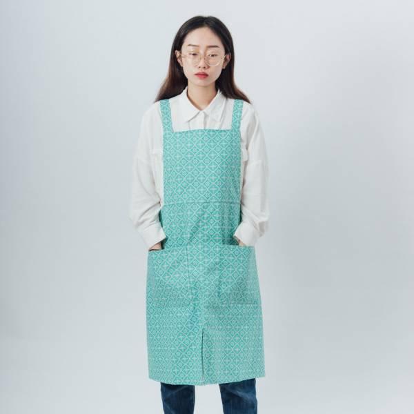 交叉圍裙/玻璃海棠/冰晶藍綠 2019,圍裙,工作裙,餐廚,台灣八哥