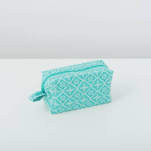 拉鏈長方收納包/玻璃海棠/冰晶藍綠 收納包, 化妝包, 盥洗包