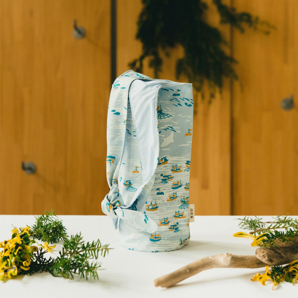 大大兔耳袋/海的寶物_漁船/淡海藍 環保飲料提袋, 隨行杯提袋, 兔耳袋