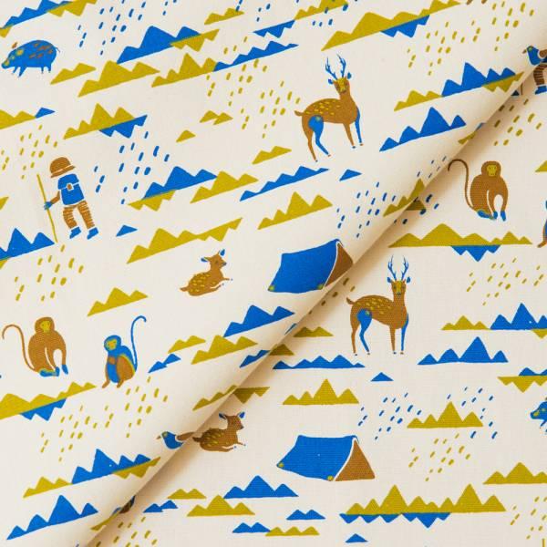 手印棉帆布_滿花-250g/y/山中健行/大地藍綠 布料, 棉帆布, 手作材料