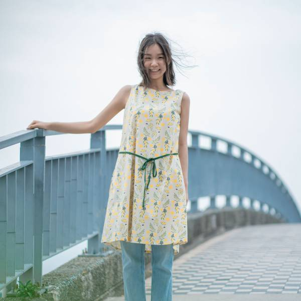 A字連身膝下洋裝/米力系列/黃相思 2019,連身裙,洋裝,台灣八哥