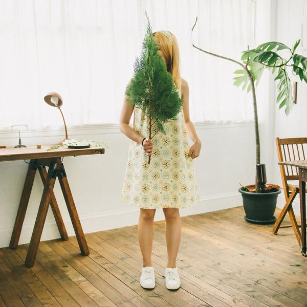 復古A字棉布小洋裝/煙火/檸黃橘藍 一件式洋裝, 洋裝