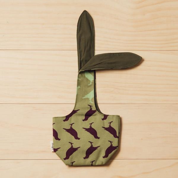 小胖兔耳袋/台灣八哥5號/油畫紫綠 飲料提袋, 環保飲料提袋, 隨行杯提袋, 兔耳袋