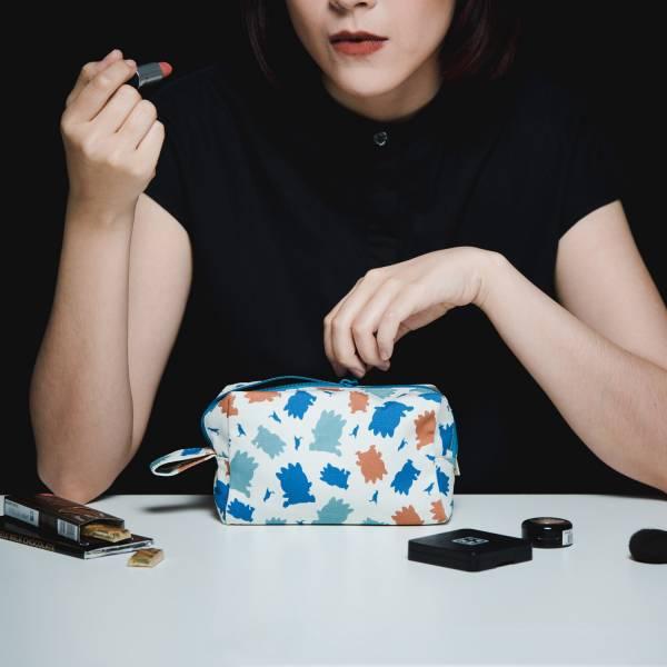 拉鏈長方收納包/限定花色/印花樂x酷企鵝-個性橘藍 收納包, 化妝包, 盥洗包