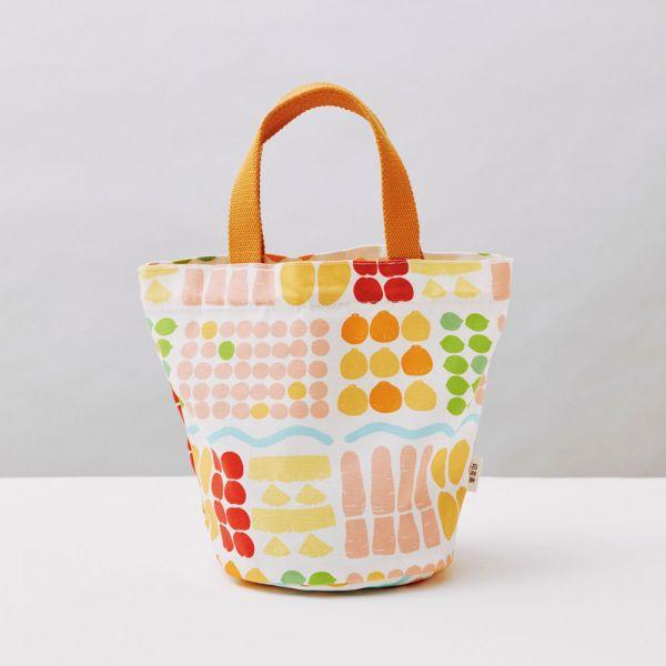圓底小提袋/老派冰果室/牛奶白 戀夏冰果室 ,冰果室,復古印花,收納包,便當袋,手提包