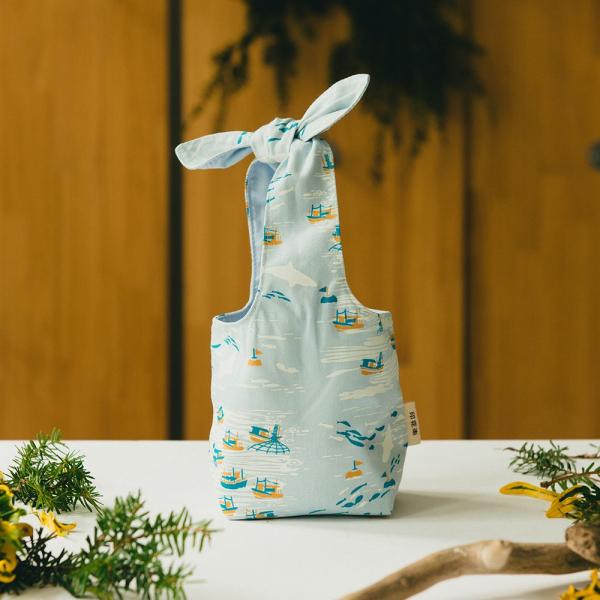 小胖兔耳袋/海的寶物_漁船/淡海藍 環保飲料提袋, 隨行杯提袋, 兔耳袋