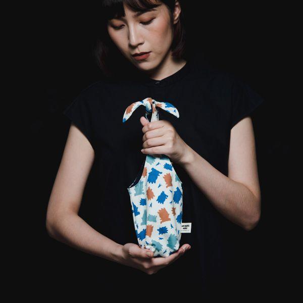 隨行杯兔耳袋/限定花色/印花樂x酷企鵝-個性橘藍 飲料提袋,環保飲料提袋, 隨行杯提袋, 兔耳袋