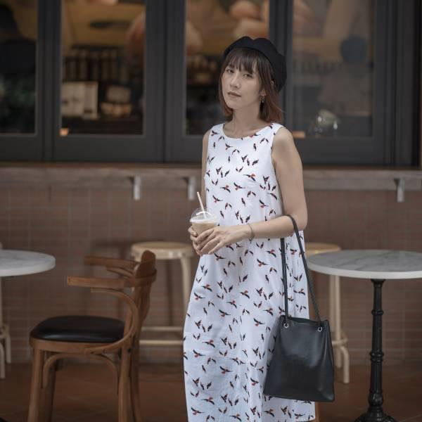 A字連身八分洋裝/朱鸝/經典紅黑 2019,連身裙,洋裝,台灣八哥