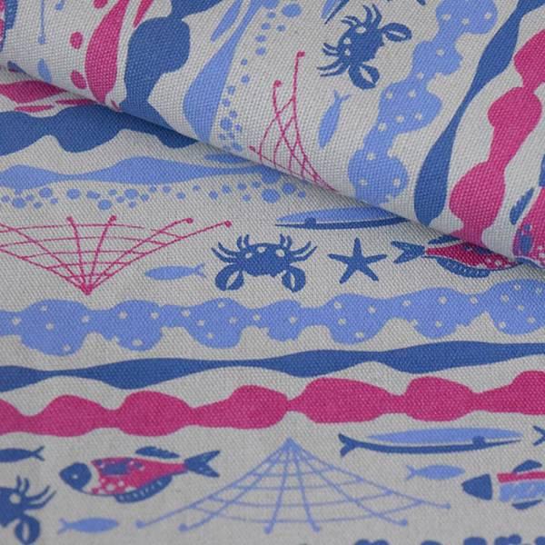 手印棉帆布-250g/y/海的寶物_魚群/紫灰藍 布料, 棉帆布, 手作材料