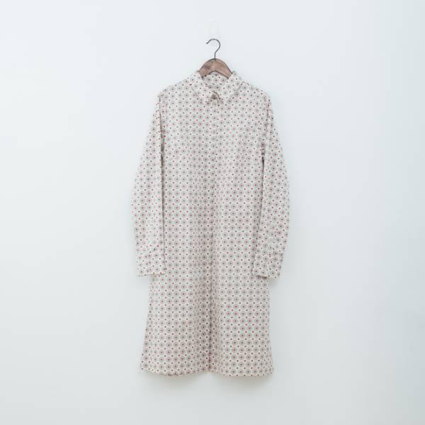 長袖長版襯衫/老磁磚2號/雲塵灰色 洋裝,罩衫,寬版,花襯衫,印花布料