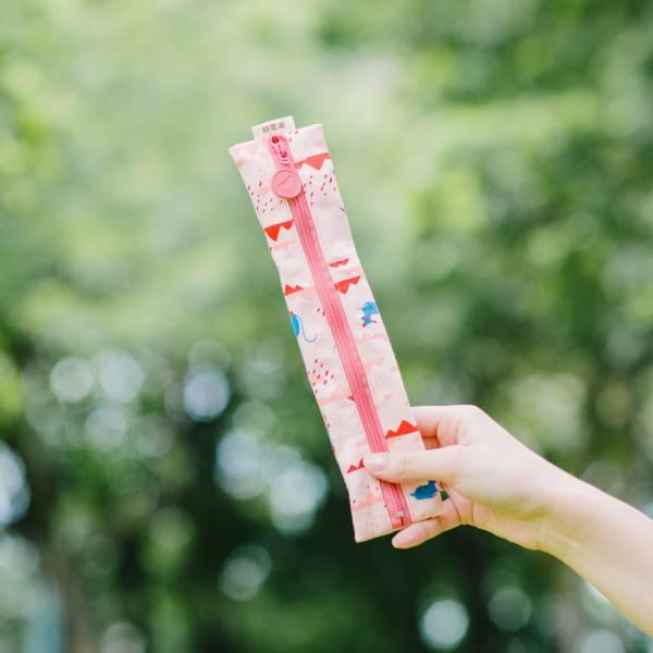 【有機棉】拉鍊餐具袋/山中健行/花卉藍紅 餐具袋