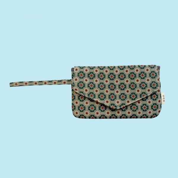 手機掛腕收納袋/老磁磚2號/島嶼邊際/花園灰綠 手機袋, 零錢包, 卡夾