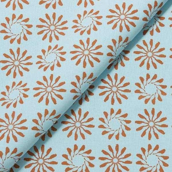 手印棉帆布-寬幅480g/y/烏秋圈圈/沉靜藍褐 布料, 棉帆布