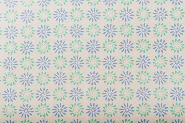 寬幅棉麻布/烏秋圈圈/麻藍綠 布料, 棉麻布
