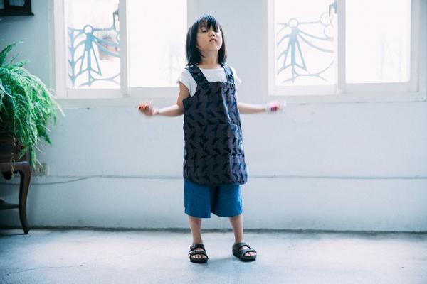 兒童圍裙-110/台灣八哥5號/工匠灰黑 圍裙