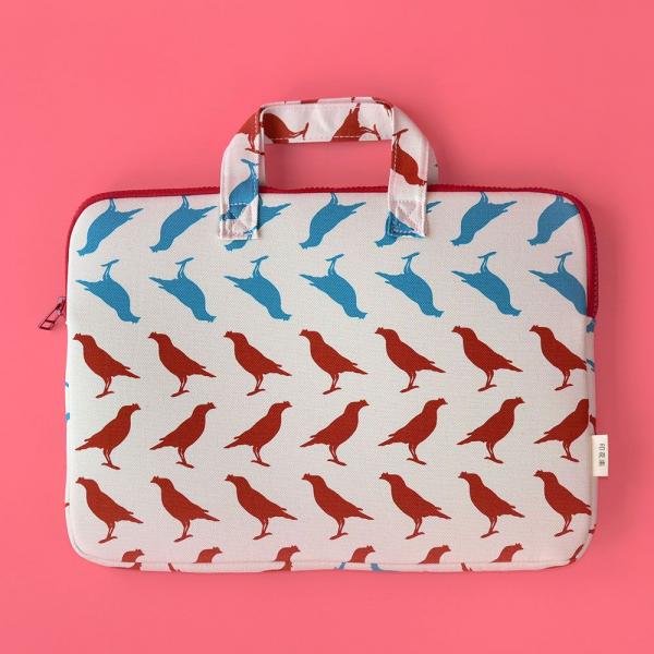 13吋筆電收納包/台灣八哥5號/古宅紅粉 筆電包, 筆電袋
