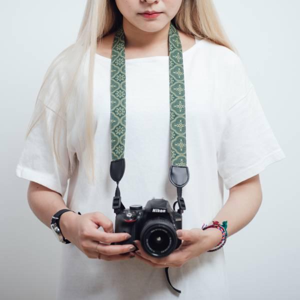 相機揹帶/玻璃海棠/古董草綠 相機揹帶