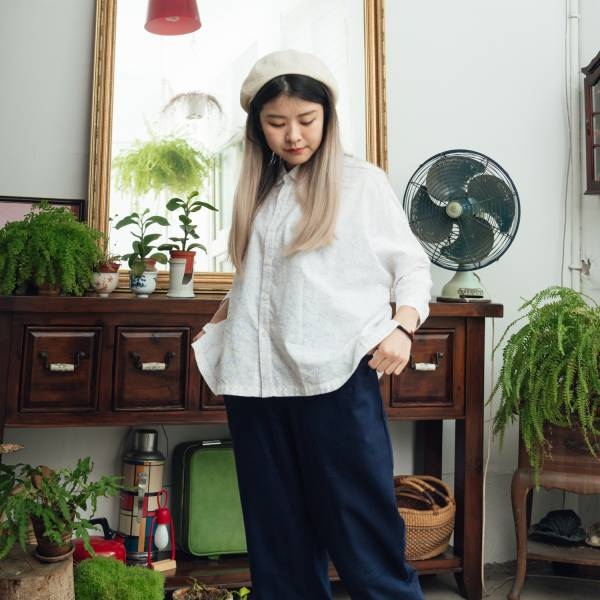中性寬版八分袖襯衫/台灣八哥/清新紫綠 中性襯衫,襯衫,花襯衫,印花布料