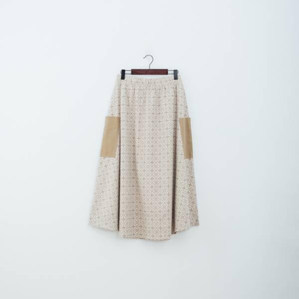 拼接口袋傘裙/玻璃海棠/麻灰褐 裙子,拼接,花裙,印花布料,長裙
