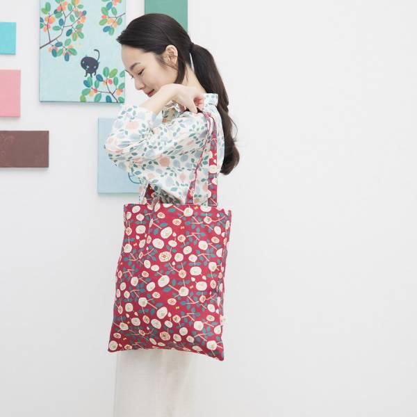 日常購物袋/藝術家聯名/印花樂 x 米力/玫瑰花紅色 肩背包,購物袋,環保袋,提袋