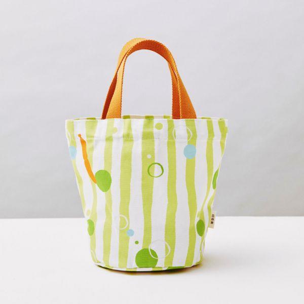 圓底小提袋/碎冰泡泡/金桔檸檬 戀夏冰果室 ,冰果室,復古印花,收納包,便當袋,手提包