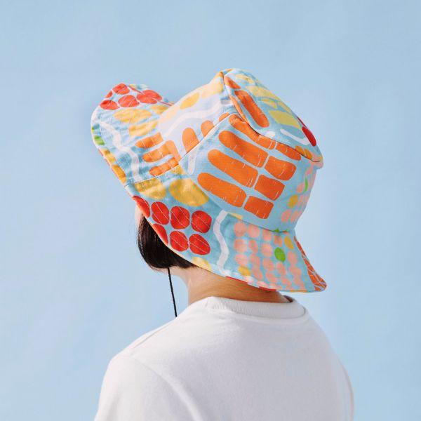 遮陽漁夫帽-可調式/老派冰果室/冰藍色 戀夏冰果室 ,冰果室,復古印花,文青穿搭,漁夫帽