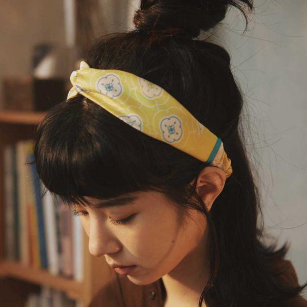 絲巾款髮帶/玻璃海棠3號/陽光黃