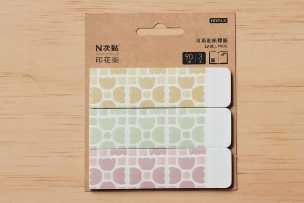 N次貼-可再貼紙標籤(三片款)/老磁磚4號/多色 N次貼, 可再貼紙標籤