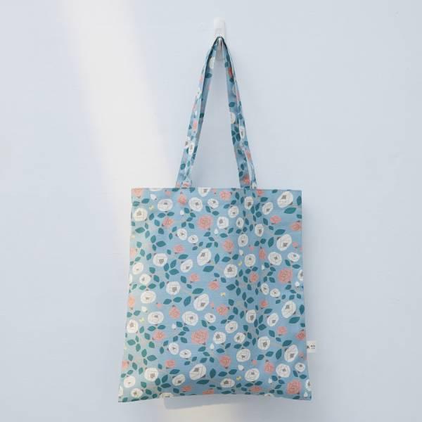 日常購物袋/藝術家聯名/印花樂 x 米力/玫瑰花灰藍 肩背包,購物袋,環保袋,提袋