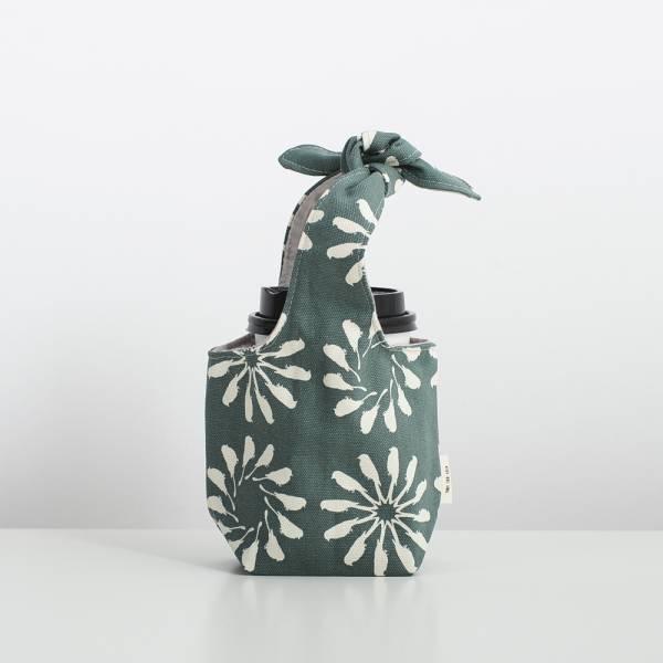 小胖兔耳袋/烏秋圈圈/水鴨綠色 飲料提袋, 環保飲料提袋, 隨行杯提袋, 兔耳袋